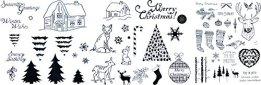 be fancy! Silikonstempel Set Weihnachten Winter - Clear Stamps - Stempel - 58-teilig - transparent -