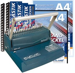 Bindegerät für Plastikbindung, inkl. Starterset 100 Teile (Binderücken & Deckblätter) -