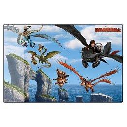 Dragons - Kinder Schreibtisch Unterlage - Schreibunterlage 38 x 58 cm, Typ:Drachenflug -