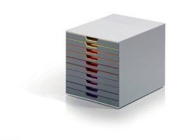 Durable 761027 Schubladenbox (Varicolor) 10 Fächern farbiger Ablauf -