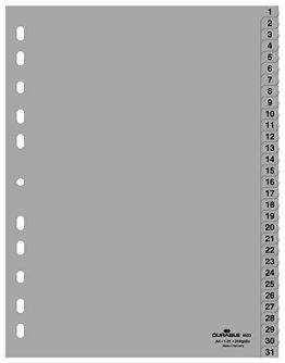 Durable Hunke & Jochheim Register 1 - 31, (PP, DIN A4, 215/230 x 297 mm) 31 Blatt grau -