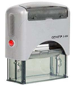 Genie S-884 Selbstfärbender Stempel Set (bis zu 5 Zeilen, selbstgestalten, Inkl. Zubehör, Stempelkissen) schwarz/silber -
