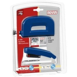 Novus Schreibtisch-Set Twinset Heftgerät+Locher E 15/E 210 blau -