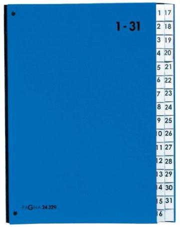 Pagna 24329-02 Pultordner 32-teilig Color-Einband, dehnbarer Leinenrücken 3 Schaulöcher, Tabe 1-31, blau -