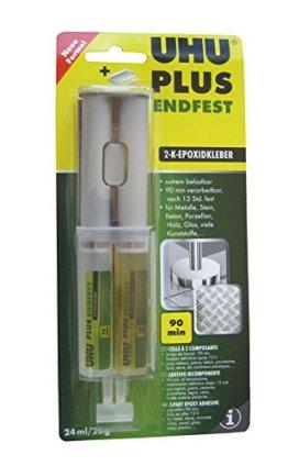 UHU 45585 - 2-Komponentenkleber, Doppelkammerspritze, Plus Endfest, 25 g / 24 ml -
