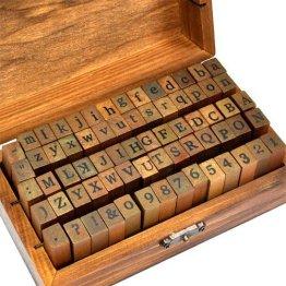 Yahee Stempel Set Holz Box Alphabet Buchstaben Letters Ziffer Zahlen Geburtstag 70tlg für Advent -