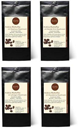 4 x Kaffee mit Geschmack Geschenkset - Haselnuss, Mandel-Zimt, Sahne, Macadamia - Arabica Röstkaffee mit Aroma - gemahlen - 4 x 75 g (300 g insgesamt) -
