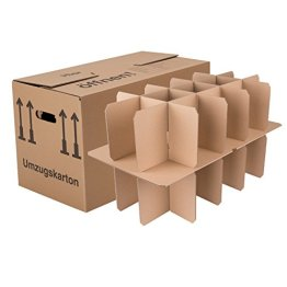 BB-Verpackungen Gläserkartons, 15 Stück, mit 15 Fächern Flaschenkartons für Umzug Verpackung Umzugskartons -