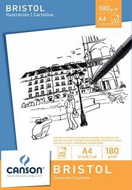 Canson 200005761 - Bristol Zeichenpapier A4, 180 g/m², 20 Blatt, weiß -