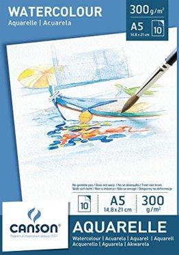 Canson 200005788 - Aquarellpapier A5, 300 g/m², 10 Blatt, weiß -