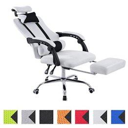 CLP Sportsitz Büro-Stuhl Relaxsessel FELLOW, belastbar 115 kg, Kopfstütze, Fußablage, höhenverstellbar 47 - 57 cm, Netzoptik Textilbezug weiß -
