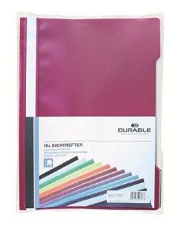 Durable 999107802 Sichthefter (A4 Beutel) 10 Stück, farbig sortiert -