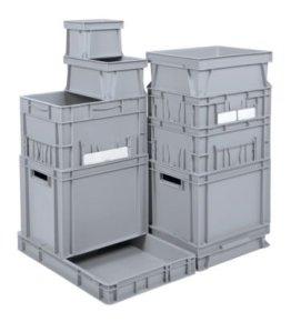 Euro-Stapelbehälter - Inhalt 65 l, LxBxH 1000 x 400 x 214 mm, PP grau - Kiste Lagerkasten Stapelkasten Transportkiste aus Kunststoff -