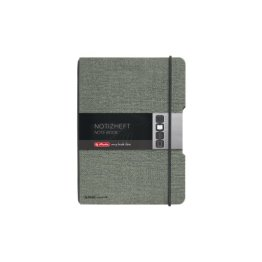 Herlitz Notizheft my.book flex, A6, Leinen-Wechselcover, kariert mit Verschlußgummi, 40 Blatt, schwarz -