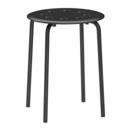 "IKEA Stapelhocker ""Marius"" stapelbarer Hocker mit 45cm Sitzhöhe - Stahl - SCHWARZ -"