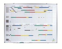 Jahresplaner - BxH 1200 x 900 mm mit Halbjahres- und 365-Tage-Einteilung - Infotafel Magnettafel Magnetwand Planungstafel Präsentationstafel Schreibtafel Tafel Wandtafel Whiteboard -