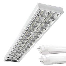LED Rasterleuchten mit 2X T8 LED 120cm 18W kaltweiß 6500K G13 Bürolampe -