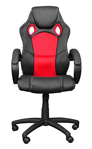 Miganeo Racing Bürostuhl Drehstuhl Chefsessel in 13 Farbvarianten, gepolsterte Armlehnen, Wippmechanik, Gasift (rot) -
