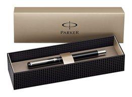 Parker S0282520 Vector Füllfederhalter (schwarz mit edelstahleinfassung, feine Schreibfeder, Geschenkbox) -