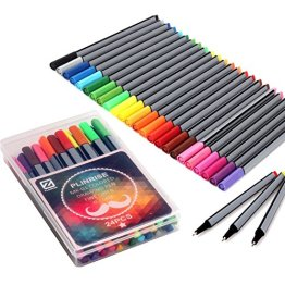 Plinrise Office Fineliner farbig Skizze Zeichnung Stift, feine Spitze, Gel-Tinte, Kugelschreiber, Tinte, Breite 0,4 mm, 24 Stück, Farben sortiert -
