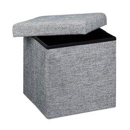 Relaxdays Faltbarer Sitzhocker 38 x 38 x 38 cm stabiler Sitzcube mit praktischer Fußablage als Sitzwürfel aus Leinen als Aufbewahrungsbox mit Stauraum und Deckel zum Abnehmen für Wohnraum, grau -