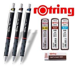 rOtring Tikky 3er Set mit Colourcode 0,35 / 0,5 / 0,7 (mit Ersatzminen HB und Radierer B20) -