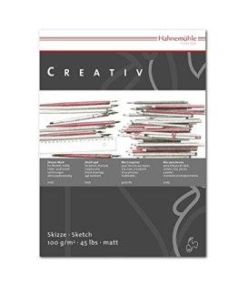 Skizzenblock Creativ A4 100 g/m² 100 Blatt Feines weißes Zeichenpapier mit hohem Volumen und matter gleichmäßiger Oberfläche für beste Farbannahme bei allen trockenen Zeichentechniken, wie Farbstift und Kohle. Säurefrei und alterungsbeständig. -
