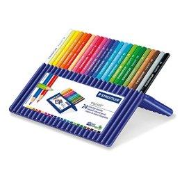 Staedtler Buntstifte ergosoft Set 24 Farben - ergonomische Dreikant-Form und Soft-Oberfläche für entspanntes Malen, weiche farbintensive Mine; Etui - 157 SB24 -