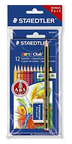 Staedtler Noris Club Buntstifte, erhöhte Bruchfestigkeit, sechskant, Set mit 12 brillanten Farben, Bonuspack mit Radierer und Bleistift, 61 SET6 -