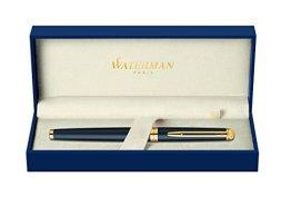Waterman S0920730 Hemisphere Füllfederhalter (feine Feder, Ausführung matte schwarz mit Goldrand) Tinte in blau -