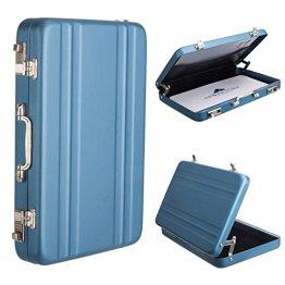 Woodmin Luftfahrt-Aluminium Mini-Koffer Geschäft / Kreditkarte / Namenskartenhalter Box, Blau -