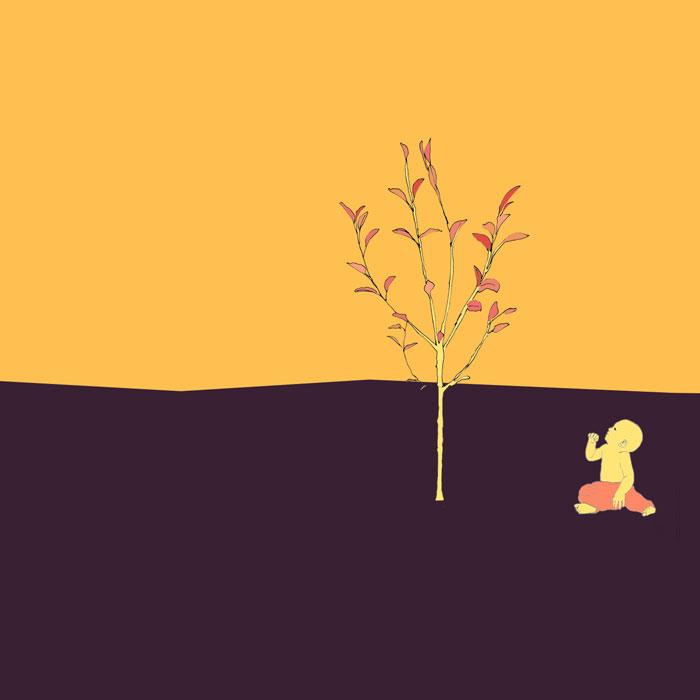 Ein Baby sitzt unter einem frischgepflanzen, ca. 1,2m hohen Apfelbaum, Skizze coloriert