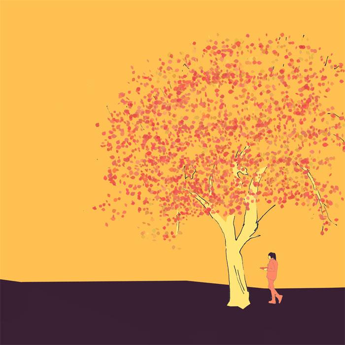 Ein ausgewchsener Apfelbaum mit einer lesenden Studentin daneben, Skizze, coloriert