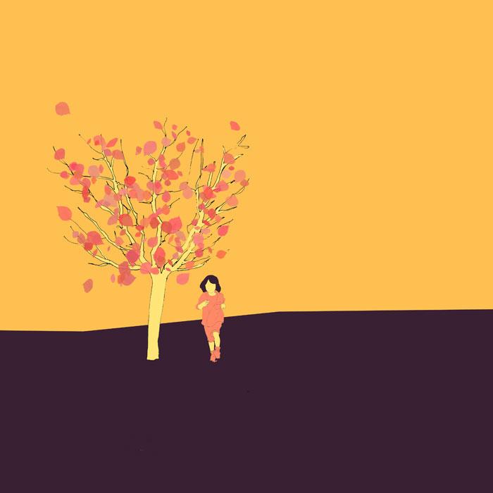 Ein kleiner Apfelbaum (3,5m) mit einem sechsjährigen Kind daneben, Skizze, coloriert