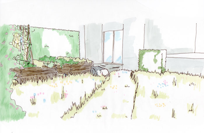Skizze, Blick von der Gartenbak über Beete und Wiese zur Terrasse in einem kleinen Garten