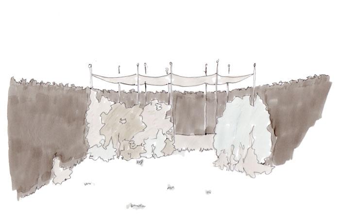 Skizze eines kleinen Garten s/w mit zwei Räumen, von denen einer nur halb sichtbar sichtbar ist und so Neugier schürt.