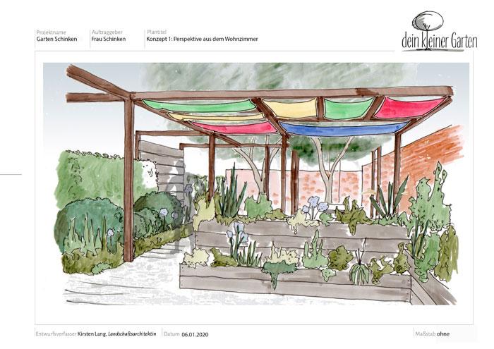 Perspektive Garten mit Hochbeet, Grafik
