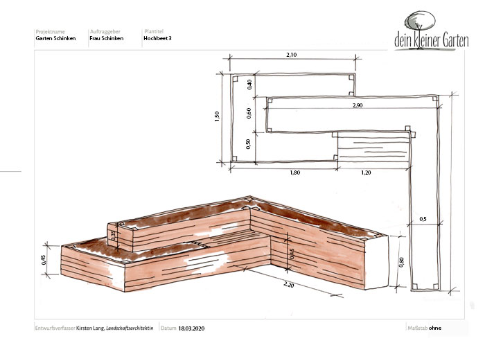Detail Plan eines Hochbeetes mit verschiedenen Höhen und Sitzgelegenheit