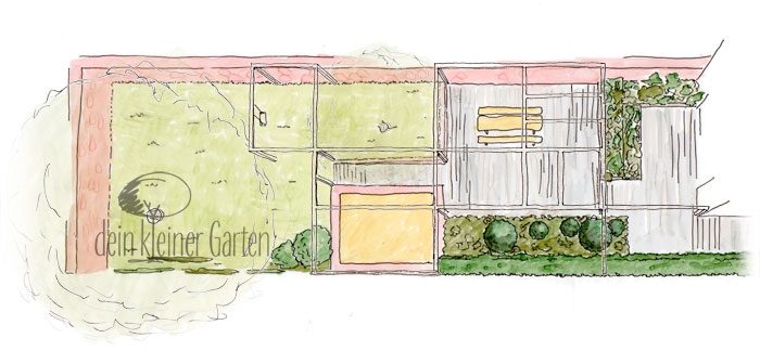 Konzept für einen langen Reihenhausgarten, Grafik