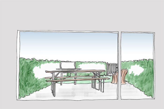 Skizze. Blick aus bodentiefen Fenster auf eine Terrasse mit Terassenmöbeln