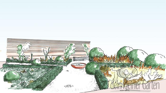 Handzeichnung, koloriert: Perspektivischer Blick in einen Reihenhausgarten von der Terrasse zur Sichtschutzwand am anderen Ende. Der Blick folgt einem Weg, der den ganzen Garten schräg durchschneidet und von einem zweiten rechtwinklig in der Mitte gekreuzt wird. An der Kreuzung steht eine Brunnenschale. Die Beete sind mit unterschiedlichen Pflanzen und Strukturen gestaltet.