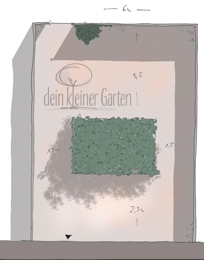 Skizze, handgezeichnet, coloriert Aufsicht auf einen kleinen Reihenhausgarten mit Mauern als Einfassung und einem zentralem Beet. Ein invertierter Garten, in dem das Beet nicht den Rand, sondern das Zentrum bildet.