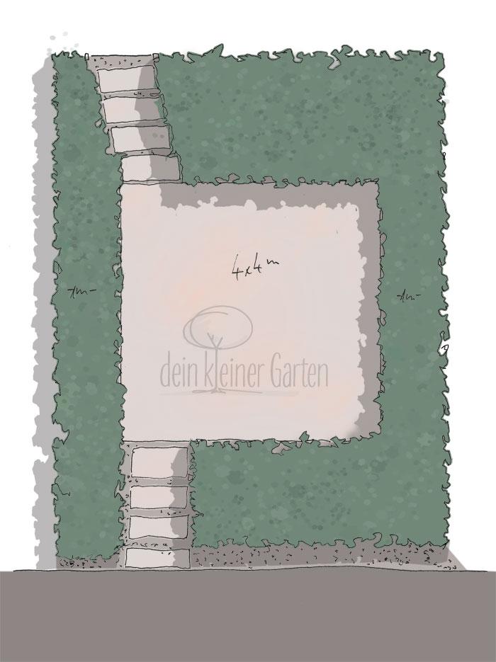 Skizze, handgezeichnet, coloriert, Aufsicht eines Reihenhausgartens mit zentraler Terrasse und umliegenden Beeten, ein Wohnzimmer-Garten