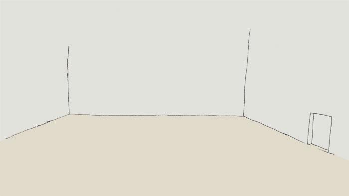 Skizze handgezeichnet eines leeren Innenhofs mit einer angedeuteten Tür. Zwischen Betrachter und Tür verläuft ein gerader Weg