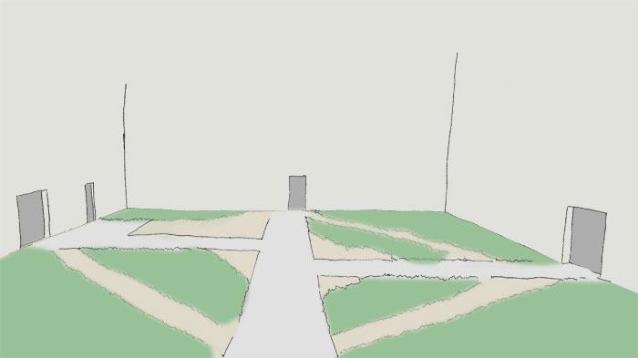 Skizze handgezeichnet eines leeren Innenhofs mit mehreren Türen an verschiedenen Seiten. Für die Erschließung wurde ein System aus sich rechtwinklig kreuzenden Wege angelegt. Trampelpfade haben sich als Abkürzungen und überlaufene Ecken wieder eingestellt.