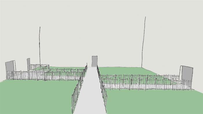 Skizze handgezeichnet eines Innenhofs mit mehreren Türen an verschiedenen Seiten. Für die Erschließung wurde ein System aus sich rechtwinklig kreuzenden Wege angelegt.  Diese Wege sind auf allen Seiten von hohen Zäunen begrenzt. Keine Chance mehr für Trampelpfade.