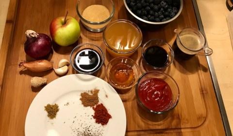 Zutaten für die Blaubeer-Barbecue-Sosse