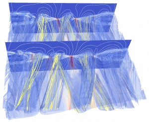 This visualization from a kinetic magnetic reconnection model shows magnetic flux ropes (blue) along a selection of magnetic field lines (yellow). A movie of such a simulation helps scientists explore the three-dimensional structure of the process, including the flux ropes interacting. (These findings come from work published this year by Los Alamos National Laboratory's Yi-Hsin et al. in Physical Review Letters, 110.265004.)