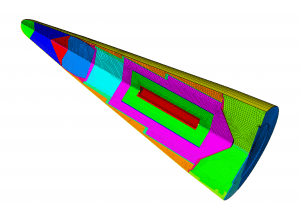 The multiple components of a nuclear weapon body are highlighted in this intentionally simplified mesh. Each part is comprised of numerous subcomponents, fastened together with screws, nuts, bolts, jar-lid-like fittings and more. (Sandia National Laboratories.)