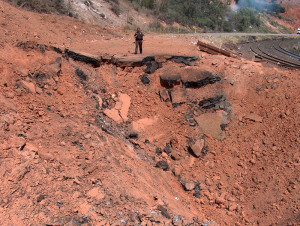 Researchers have turned to the Mira supercomputer to learn what causes evenly burning fires to detonate into unexpectedly powerful explosions like one 10 years ago that destroyed a section of Utah highway and adjacent railway. (Photo: Utah Department of Transportation.)